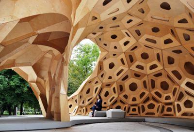 Möglichkeiten der robotischen Fertigung im Holzbau Foto Universität Stuttgart