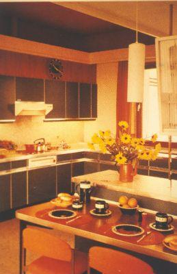 Typische Küche in den Farben und Formern der 1970er Jahre mit kleiner Essecke.(Foto AMK)