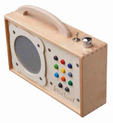 Hörbert einen tragbaren mp3-Player im Holzkasten
