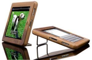 iPad mit Holz Hülle