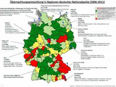Übernachtungsentwicklung in Regionen deutscher  Nationalparke 2006-2011 Quelle PROJECT M GmbH  AGR  DSH